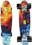 Qinmo Planches à roulettes Standard, Mini Cruiser Skateboard, 22' Planche à roulettes complète avec roulement Silencieux et Exquis Motif, Conseil Rtero Cruiser for Les Enfants débutants Adultes Ados