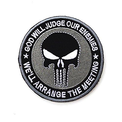 Parche táctico militar bordado redondo cráneo cinta moral insignia brazalete parches coser para gorra bolsa chaquetas emblema apliques (gris)