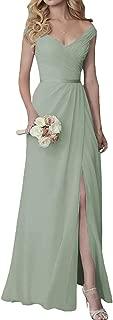 Cute V-Neck Bridesmaid Dresses with Slit Long Chiffon Formal Dress
