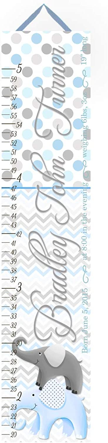 Toad and Lily Kids Canvas Birth Info Growth Chart Baby bluee Grey Elephant Chevron Boys Baby Nursery Canvas Growth Chart GC0235