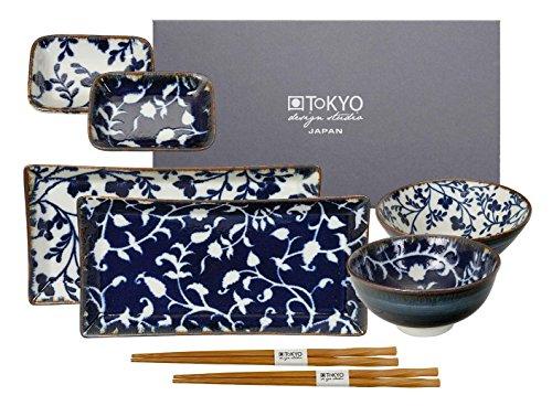 TOKYO design studio, Fleur de Ligne, Sushi Set, 8teilig. 2 Sushi Platten, 2 Reisschalen, 2 Saucenschalen, 2 Paar Holz Chopsticks. Sushiteller Porzellan Set.