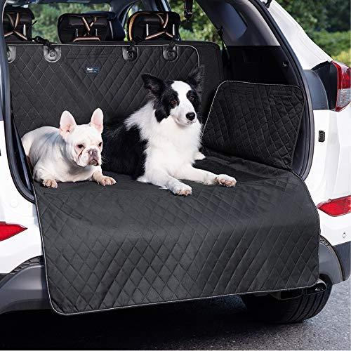 Bedsure Kofferraumschutz Hund mit Seitenschutz, wasserdicht und rutschfest Kofferraum schutzmatte, universal hundedecke Auto Kofferraum, robuste Schutzmatte für Hunde, Schwartz