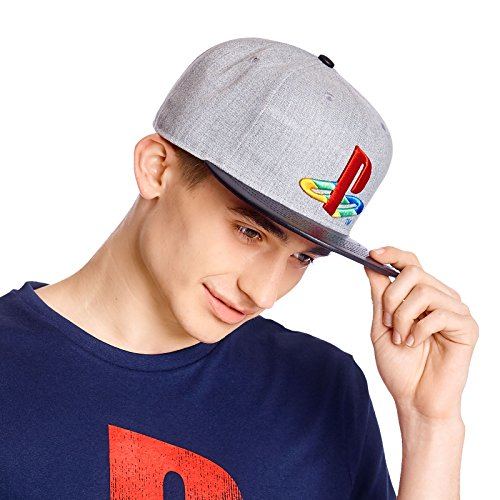 PlayStation Snapback Cap Logo Basecap grau schwarz