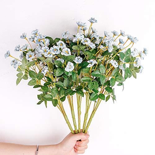 Tifuly 5 Racimos de Flores Silvestres Artificiales, Naturaleza Fake Silk Silk Mini Ramos de Rosas para la Oficina del Hogar Decoración de Jardín de Bodas