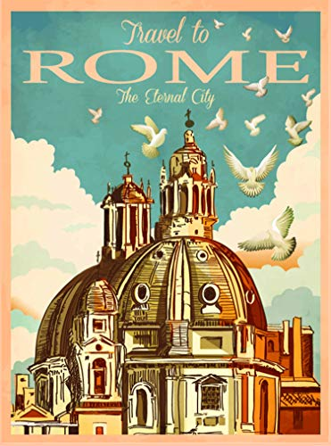 A SLICE IN TIME Travel to Rome Italy The Eternal City Retro Travel Home Collectible Wall Decor Advertisement Art Poster Print. 10 x 13.5 inches