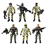 YIJIAOYUN 6 Pcs Action Figure Army Soldiers Toy with Weapon / Military Figures Playsets