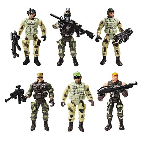 Regalo Eccellente -- Un set di 6 personaggi soldati e 6 armi sono dipinti a mano uno per uno. Grandi regali per Halloween, compleanno dei bambini, i favori dei party a tema militare, il collezionista di uomini d'azione militare, preparalo per i tuoi ...