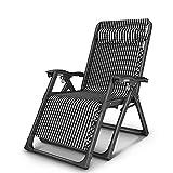WYZXR Silla Plegable reclinable Almuerzo Pausa Silla hogar Ancianos durmiendo reclinable portátil al Aire Libre sofá Perezoso Respaldo, Cuadros Negros
