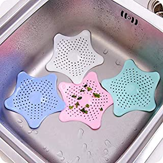 Right Products Starfish Polyvinyl Chloride Resin Hair Catcher Rubber Bath Sink Strainer Shower Drain Cover Trap Basin (17 x 19 x 2.4 cm,Multicolour)