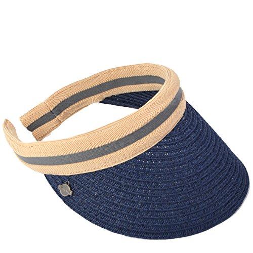 Women Golf Sports Visor - Sun Hat Beach Straw Summer Visors Cap (Navy)