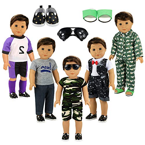 BARWA Boy Doll Clothes 5sets Boy Doll Clothes 2 Pairs Shoes 1 Pair Glasses Compatible for 18 Inch Boy Dolls Outfit