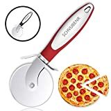 SCHVUBENR Premium Pizza Cutter - Stainless Steel Pizza Cutter Wheel - Easy to Cut and Clean - Super Sharp Pizza Slicer - Dishwasher Safe - Handles Large and Small Pizza - Corte De Pizza(Red)