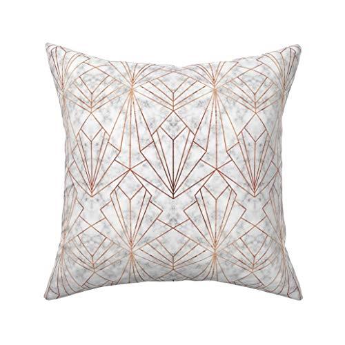 MrRui Art Deco - Funda de cojín de mármol y Cobre de 45 x 45 cm, Cuadrada, Decorativa para el hogar, de algodón, algodón, One Color, 45cm x 45cm