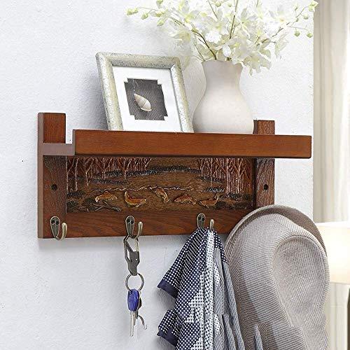 Wandgarderoben mit Metallhaken und oberem Regal für die Aufbewahrung von Badezimmertaschen im Flur (Farbe: Nussbaum Größe: 45 cm 4 Haken)