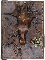 3D ステード レザー ノートブック - ハンドメイド 本革 - 素朴 ハンドメイド ヴィンテージ レザー バウンド ジャーナル メンズ レディース - レザー ブック ダイアリー ポケット ノートブック ブラウン 5.5 x 7インチ 288ページ