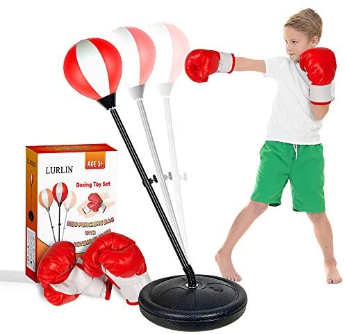 LURLIN Punching Bag for Kids Incl Boxing Gloves & Stand, Height Adjustable Kids Boxing Bag Set, Top Toy/Gift for Age 4,5,6,7,8,9,10 Boys