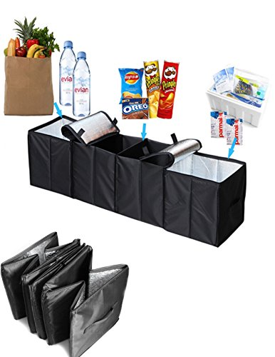 Collapsible Car Trunk Organizer 4 in 1 Auto Truck Storage Container Foldable Multi 4 Compartments Storage Basket and Cooler amp Warmer Set Black