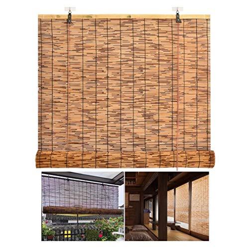 Cortina enrollable de bambú para patio,persianas enrollables para exteriores,cortinas romanas,cortinas de láminas impermeables retro con elevación,parasol/aislamiento térmico,para interiores,cocina.