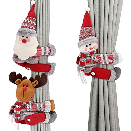 Aceshop Świąteczna zasłona sznurki 3 szt. Boże Narodzenie zasłona klamra sznurki kreskówka Święty Mikołaj bałwan łoś lalka zasłona haczyk uchwyty klamra klamra zacisk na Boże Narodzenie dom święta dekoracja okna