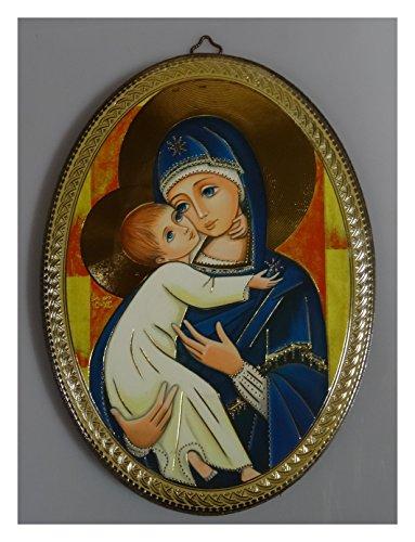 Lnxp-Cuadro de Imagen Laminado Sobre Madera Hecha a Mano Virgen María y niño Jesús 12Apóstoles Ovalado