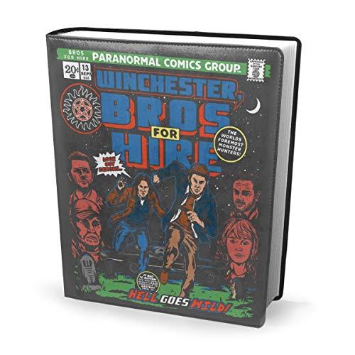 Funda para libro de 23 x 28 cm Winchester Bros Hire Supernatural Classic Comic – Perfectamente elástico lavable práctico reutilizable antideslizante suministro para estudiantes