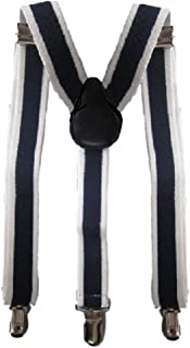 "Childrens Quality Adjustable Elastic Suspenders for Babies, Boys and Girls many colors (26"" (3 yrs-9yrs), light red) (30"" (8 yrs-5 ft. tall), Navy/White Stripe)"