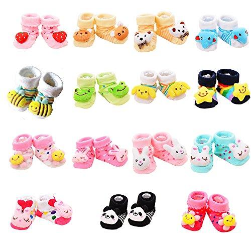 VWU Lot de 15 Paires Unisexe Bebes chaud et épais Infant Antiderapants Chaussons Cartoon Nouveau-Nés Bébé Chaussettes en Coton 0-12 mois