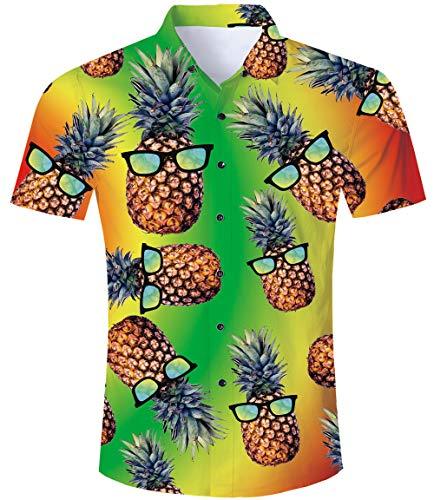 TUONROAD Camisa Hawaiano Hombre Impresión 3D Piña Camisas de Playa Hombre Manga Corta Verano Casual Camisas XL