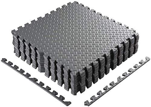 Homgrace Schutzmatten Set 60 x 60 cm Bodenschutzmatten Trainingsmatten Puzzlematten für Bodenschutz, Büro, Fitnessraum, Garage, Fitnessgeräte, Fitness, Yoga, Grau - 16 Matten