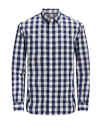 JACK & JONES Jjegingham Shirt L/s Camisa, Multicolor (White Checks:Mixed Navy), X-Small para Hombre