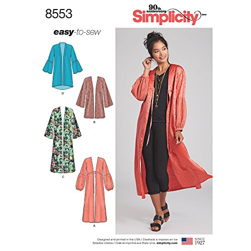 Simplicity Pattern 8553 Misses' Kimonos by Easy-To-Sew, Size XXS-XXL