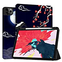 MAITTAO Case For iPad Pro 11 inch 2nd Generation 2020 Release with Apple Pencil Holder, Soft TPU Back Shell Stand Smart Cover For iPad Pro 11 Case Tablet Sleeve 2 in 1 Bundle,Flowers & Leafs 9