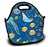 Mochila de neopreno para niños, diseño oceánico, con correa ajustable para el hombro para niños y niñas