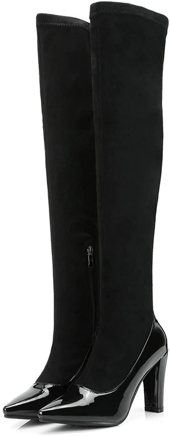 AnMengXinLing Women Over The Knee Boots Block High Heel Suede Leather Pointed Toe Stretchy Thigh High Western Snow Boots