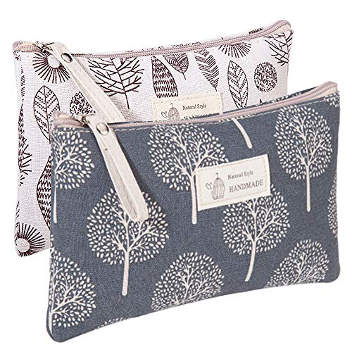 Kimoli 2 Pcs Women Funny Makeup Bag Cute Cosmetic Bag Pouch for Purse Toiletry Bag