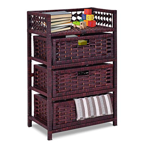 Giantex 3-Drawer Storage Organizer End Table Side Cabinet Nightstand for Bedroom, Office & Living Room Hand-Woven Paper Rope Storage Chest w/Solid Wood Frame 3 Drawers, Spacesaver, Reddish Brown