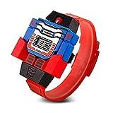Redlemon Reloj para Niño Digital, Diseño Infantil Robot Desmontable, Hora y Fecha, Modelo 1095. Rojo