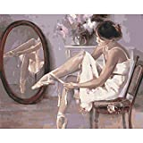Lovmo Bailarina de Ballet para Adultos y niños, Herramienta de Pintura de Diamante 5D, Bricolaje, Diamante Completo, Diamante, Cristal, Gema, Pintura artística, Muy Adecuada pa(Cuadrado 30 * 40 cm)