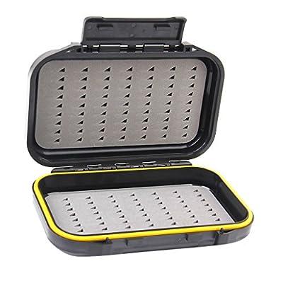hou zhi liang Portable Fishing Baits Case Waterproof Dual-Layer Fly Fishing Bait Storage Case Box Black from hou zhi liang