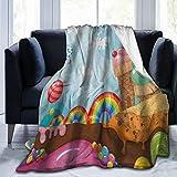 KOSALAER Bedding Manta,Tierra de Postre Colorido Helado con Caramelos de Arco Iris árboles de piruletas y montañas de Cupcakes Dibujos Animados Multicolor,Mantas cálidas de Sala de Estar/Dormitorio