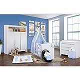 Babyzimmer Felix in weiss 19 tlg. mit 3 türigem Kl von Blue Marine in blau