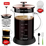 Upgraded French Press Coffee Maker Glass 34 oz, French Coffee Press with Glass handle and non-slip silicone base Precise Scale Easy to Clean Durable Heat Resistant Black/Copper/Silver (Copper, 34oz)