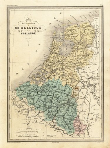 Mapa de la antigua ThePrintsCollector Holanda-Bélgica-Holanda-malte-Brun-oponen-1880