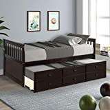 Danxee Kids Captain's Bed Twin Daybed with Trundle Bed and 3 Storage Drawers No Box Spring Needed for Kids Guests (Espresso)