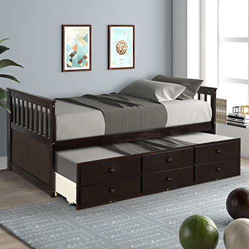 SOFTSEA Twin Daybed Captain's Bed with Trundle and 3 Storage Drawers for Kids Guests (Espresso)