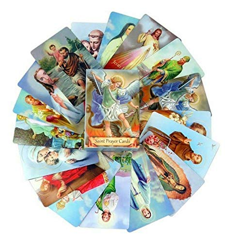 Pack of 54 Assorted Holy Cards with Catholic Saints and Prayers   Believers Corner