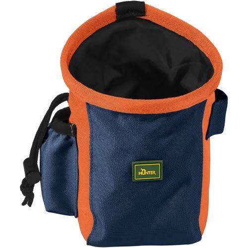 HUNTER BUGRINO Standard Gürteltasche, Futterbeutel, Leckerlitasche, für Training und Ausbildung, M, grau-blau/orange