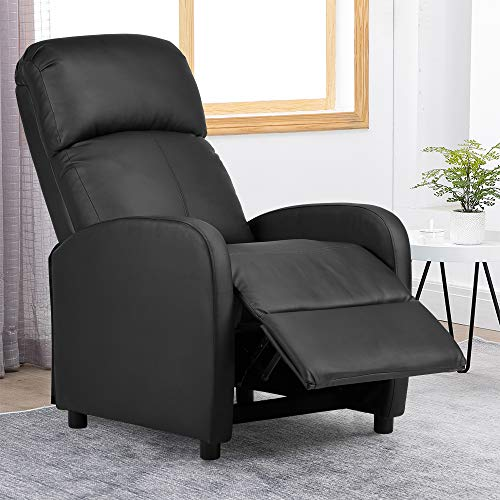 BonChoice Faux Leather Recliner Chairs Black, High Back Occasional Armchair Sofa Chair for Living Room Bedroom Fireside Adjustable Lounge Reclining Chair (PU Leather: Simple Black)