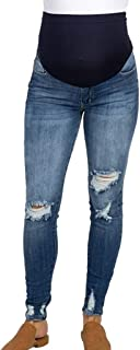Belly Straight Jeans, Women's Maternity Jeans Over The Belly Super Soft Support Maternity Leggings
