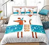 Prinbag Happy Puppy Bedding Set Cute Dachshund Sausage Juego de Funda nórdica para niños Funda de edredón Pet Textiles para el hogar 150x200cm
